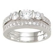 Three Stone Cubic Zirconia Wedding Ring Band Set