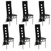 vidaXL Трапезни столове, черна кожа, стоманена рамка – 6 бр.