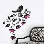 Walltola Wall Decal - Pretty Black Bird With Flowers 8090 (Dimensions 80x100cm)