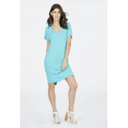 JustFab Knee Length Knit T-Tee-shirts Dress Femme Couleur Bleu Taille XS JustFab