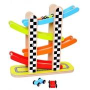 Pidoko Kids Zig Zag Gliding Cars Race Track Playset - 4 Levels Mega Ramp Car Racing Games - Wooden Switchback Slider Ladder Toddlers Toys