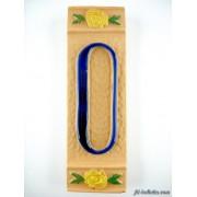 Numero civico ceramica con fiore giallo nfg10