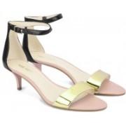 Nine West Women BLK/GOLD L Heels