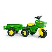 rolly toys John Deere Three Wheel Trac Pedal Tractor with Detachable Trailer