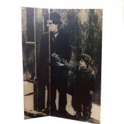 Paravan decorativ, alb-negru, Charlie Chaplin