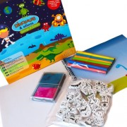 Meadow Kids Dinosaurs, Aliens-Stamps and Pen To Draw Scenes