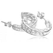 Tuscany Silver - Boucles d'Oreilles Créoles fantaisie - Femme - Argent 3.2 Gr - Oxyde de zirconium