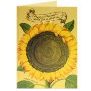 Happy Sunflower - Psalm 144:15 - (Scriptural Greeting Card)