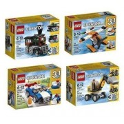 Lego Creator 3 In 1 Bundle: Power Digger 31014, Sea Plane 31028, Blue Racer Car 31027, And Emerald Express Train 31015