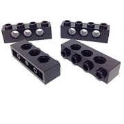 Lego Parts: Technic Brick 1 x 4 with 3-Holes (PACK of 4 - Black)