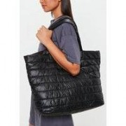 Missguided Black Quilted Tote Bag, Black