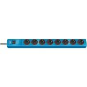 Prolongateur multiprise hugo! avec parasurtenseur 19.500A 8 prises bleu 2m H05VV-F 3G1,5
