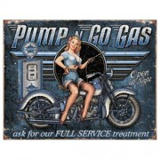 """""""Sign - Pump N Go Gas With Motorbike"""""""