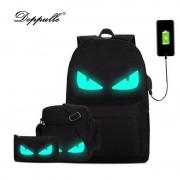 3Pcs/Sets USB charging Womens Man Luminous Black Backpacks Canvas School Book Bags Computer Backpack women student bag mochila