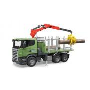 Bruder - 03524 - Set Camion per il trasporto di legna, con gru, benna prensile e 3 tronchi, serie Scania R