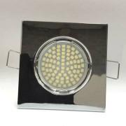 HIPOW Spot carré encastrable et fixe chrome avec raccord protégé incurvé pour douille gu10