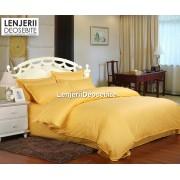 Lenjerie de pat damasc cu 6 piese culoarea galben