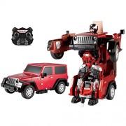 BonZeal Remote Control RC Robot Jeep Car One Key Transformation Autobots Child Wrangler Deformation Smart Robotic Electric Children Toy