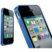 Bumper metalic pentru iPhone 4 / 4S - Albastru