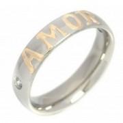 Aliança em Aço Inox 5mm com Pedra de Zircônia e Aplique Amor em Ouro