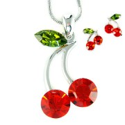 Sexy Swarovski Crystal Juicy Red Cherry Necklace Earrings Set