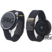 SnuG Watchband Moto360 22mm Watch Band and Bumper Case Set for larger 46mm 2nd Gen Moto 360 smart watch (Black w Black Buckle)