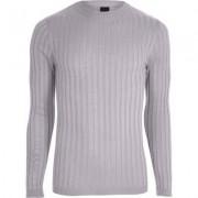 River Island Light grey rib knit muscle fit jumper