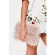 Missguided Nude Feather Clutch Bag, Purple