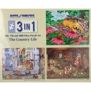 Bits and Pieces 3 in 1 The Country Life 500, 750 and 1000 Piece Puzzle Set