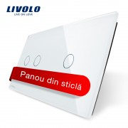 Panou intrerupator dublu + simplu cu touch Livolo din sticla, alb