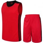Баскетболен екип потник с шорти - червен с черно