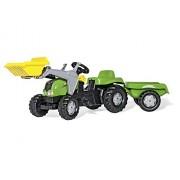 Rolly Toys 23134 - Veicolo a Pedali Kid X con Ruspa e Rimorchio, Verde