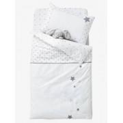 VERTBAUDET Babybettbezug Sternenregen, wendbar weiß/grau