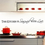Witkey This Kitchen Is Seasoned with Love DIY Dining Room Home Decor Decals Wall Sticker Art Quote and Saying Removable