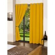 Lushomes Lemon Chrome Plain Cotton Curtains With 8 Eyelets for Door