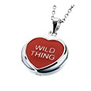 Sterling Silver & Red Enamel Classic Love Hearts 'WILD THING' Pendant