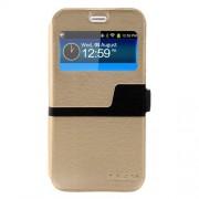 Noise Asus Zenfone Selfie ZD551KL Flip Cover - Golden with Black Strip