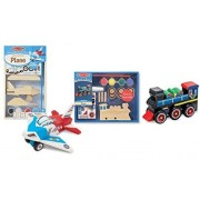 Maven Gifts Melissa Doug Decorate Your Own 2-Pack - DYO Wooden Plane with DYO Wooden Train - Ages 3 And Up