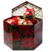 Set 14 globuri cu floare si pasare in cutie speciala