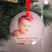 Fényképes üveg karácsonyfadísz, felirattal