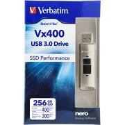 Verbatim 256 GB Store 'n' Go Vx400 USB 3.0 Flash Drive, Silver 47691