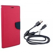 Mercury Wallet Flip Cover Case Samsung Galaxy Star Pro (GT-S7262) (PINK) With Genuine USB Charging Data Cable
