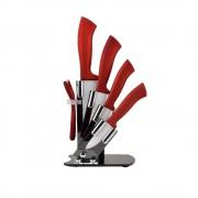 Комплект висококачествени керамични ножове 4бр. + белачка ZEPHYR ZP 1633 L6AS , Акрилна стойка, Червен
