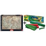 Pack Puzzle Educa 16005. El Mundo, Mapa Politico. 1500 piezas + Tapete universal Puzzle Roll Clementoni 30297