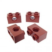 "Lego Parts: Technic, Brick 1 x 2 with ""1-Hole"" (PACK of 4 - Reddish Brown) by B&F-BuildPacks"