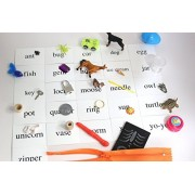 Montessori Alphabet Objects Set Beginning Letter Sounds Set #1 With Word Cards Miniture Objects For Each Letter Of The Alphabet & Phonetic Sounds Montessori Pink, Blue And Green Series Words Teacher Supply Language Objects Special Education, Early Childho
