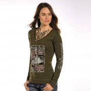 Rock & Roll Cowgirl Rodeo Tee - Large - Brown - L8T9864