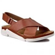 Clarks Sandały CLARKS - Tri Alexia 261259424 Tan Leather