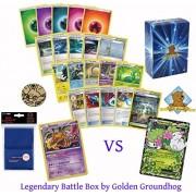 100 Pokemon Card Legendary Battle Box Lot - Two Legendary Pokemon Giratina Vs. Shaymin! 2 Reverse Valley Cards! Trainers Energy Rares Foils Holos! 1 Coin and Sleeves! Golden Groundhog Box!