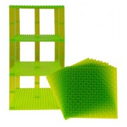 """Premium Clear Light Green Stackable Base Plates 10 Pack 6"""" X 6"""" Baseplate Bundle With 80 Clear Light Green Bonus Building Bricks (Lego Compatible) Tower Construction"""